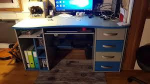 bureau customisé bureau customisé 140 70 bleu gris tables de bureau