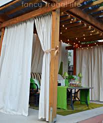 """Cabana"""" Patio Makeover With DIY Drop Cloth Curtains 