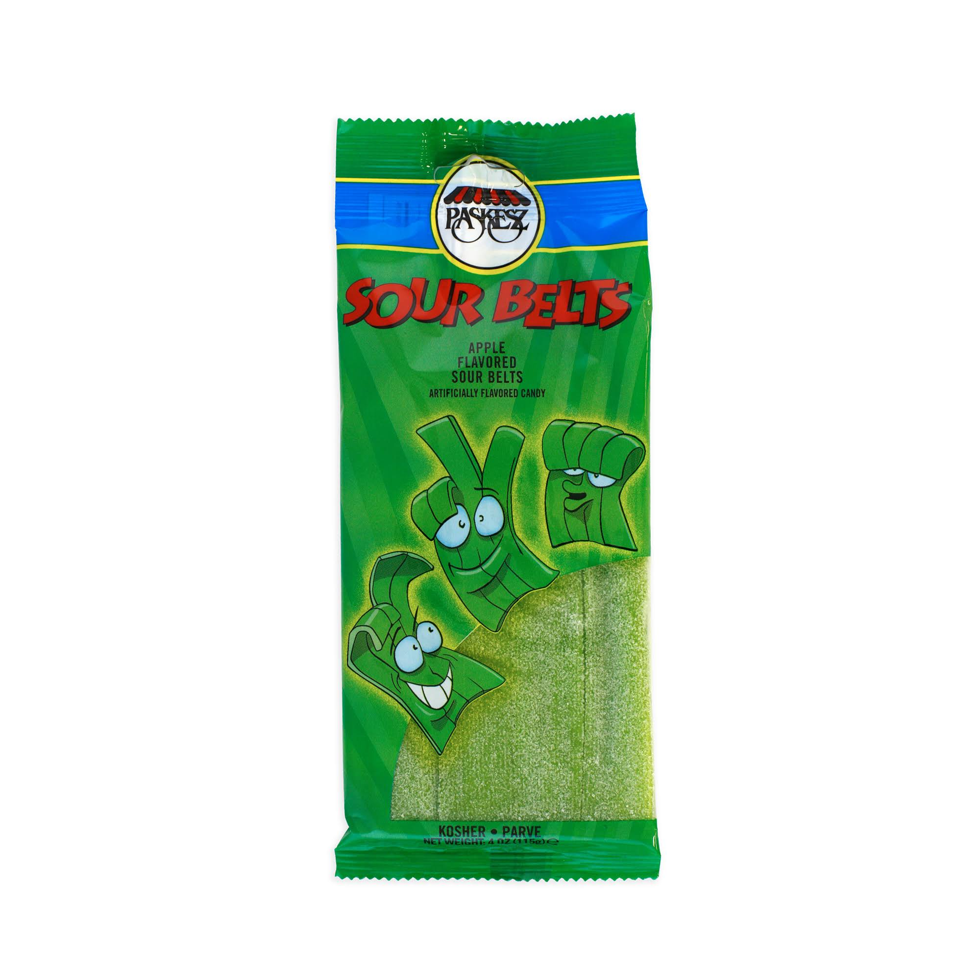 Paskesz Sour Belts Cany - Apple, 4oz, 6pcs