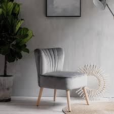 laxllent stuhl samt grau sessel polsterstuhl 57x68x76cm mit holzfüß weich gepolstert stuhl für esszimmer wohnzimmer salon