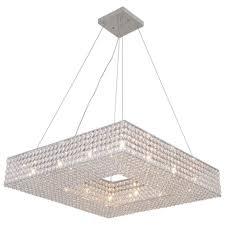 24 square pendant chandelier chrome hallway