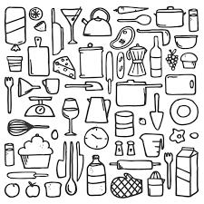 Kitchen Items Line Drawing on Behance Kindergarten Pinterest