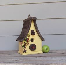 Primitive Birdhouse Yellow Wood Rusty Hardware Decorative Outdoor Recycled Reclaimed