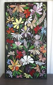 EXTERIOR MOSAIC WALL Art Stained Glass Wall Decor Floral Garden Indoor Outdoor Patio Hanging Made To Order