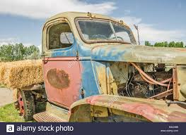Close-up Of Old, Colorful, Vintage Truck Missing Some Parts And ...