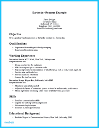 Examples Of Bartender Resumes Resume Sample Awesome No Experience