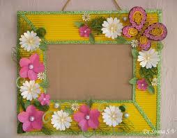 Paper Flowers On Handmade Photoframe