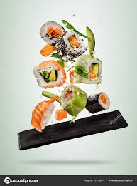 bac cuisine flying sushi pieces served on plate separated on bac