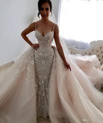 2018 Luxury Mermaid Wedding Dresses Spaghetti Backless Bridal Gowns Major Embroidery Crystal Dress Custom Made With Detachable Train