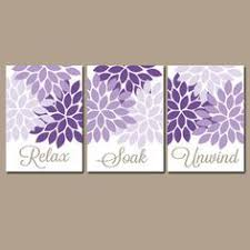 BATHROOM Wall Art CANVAS Or Prints Purple Lavender Relax Soak Unwind Dahlia Flower Burst Choose Colors