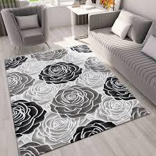 moderner wohnzimmer teppich muster in schwarz grau creme vimoda homestyle
