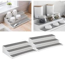 3 tier nicht slip küche schrank regal veranstalter erweiterbar tiered veranstalter küche schrank organizer lagerung make up veranstalter gewürz