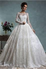 Classy Ball Gown Bateau Neck Long Sleeve Vintage Lace Wedding Dress