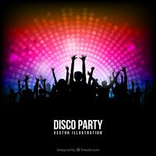 Disco Party Poster With Silhouettes Free Vector