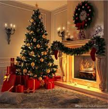 2018 Indoor Fireplace Christmas Tree Photography Backdrops Printed Garland Carpet Present Boxes Kids Children Home Party Photo Booth Background From