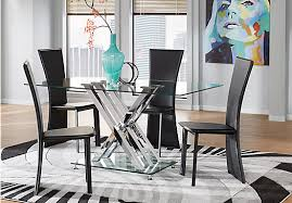 Empire Place Metal 5 Pc Rectangle Dining Set With Glass Top