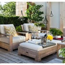 Weathered Teak Deck Chairs With Ottoman As Coffee Table