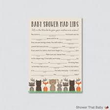 Halloween Mad Libs Free by Woodland Baby Shower Mad Libs Printable Baby Shower Advice