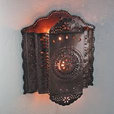 Mexican Punched Tin Lamp Shades by 3 Tier Mexican Punched Tin Wall Sconce