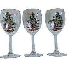 Spode Christmas Tree Highball Glasses by Spode Christmas Tree Wine Glass Set With Gold Trim From
