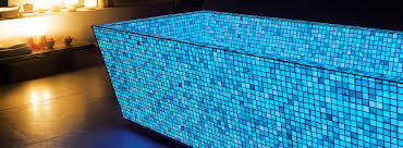 Glow In The Dark Mosaic Pool Tiles by Introducing Lucedentro Italian Made Glow In The Dark Glassware