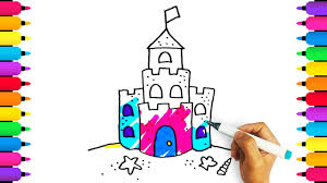 Coloring For Kids How To Draw A Sandcastle Drawing Art Colours Ch