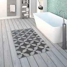 paco home badematte kurzflor teppich für badezimmer rutschfest in grau grösse 40x55 cm