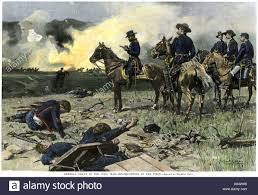 Union General Ulysses S Grant On Horseback With His Officers A Civil War Battlefield