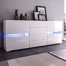 Mecor Sideboard Cabinet BuffetKitchen And Storage TV Stand High Gloss LED