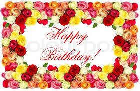 Happy Birthday roses colorful flowers frame stock photo