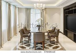 front view stylish light dining room stock photo 579096448