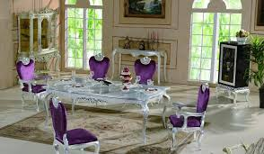 Magnificent Silver Leaf Purple Chair In Luxury Dining Room With Classic Style Combine Floral Pattern Area Rug