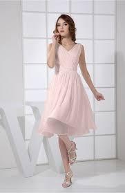 light pink prom dress plain a line v neck sleeveless knee length