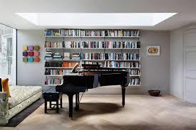 modern bookcase grey walls living room design ideas