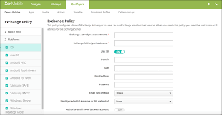 Exchange device policy