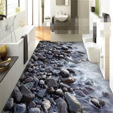 Beibehang Custom Fantasy Painting Pvc 3d Flooring River Stone For Indoor Bathroom Bedroom Papel De