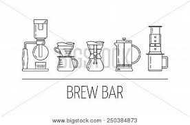 Set Vector Black Line Icons Of Coffee Brewing Methods Siphon Pour Over Chemex French Press Aeropress Flat Design Illustration