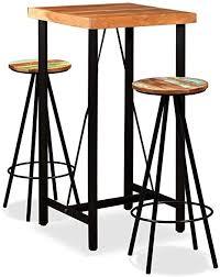 festnight 3 tlg bar set bartisch barhocker holz barset inkl