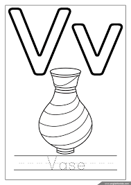 Alphabet Coloring Page Missive Of The V Is For Vase