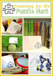 Halloween Scavenger Hunt Clue Cards by Puzzle Play Activity A U201ccounting By 10 U0027s Puzzle Hunt