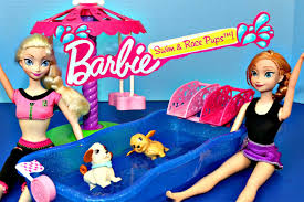 Caillou In The Bathtub Ytp by Barbie Frozen Elsa Princess Anna Puppy Water Racing Carosel Dog