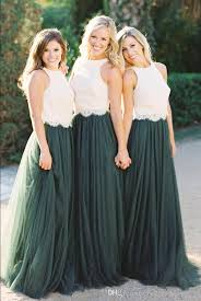 2018 Vintage Two Pieces Crop Top Bridesmaid Dresses Tulle Ruched Dark Green Maid Of Honor Gowns Lace Wedding Party Dress BD1122