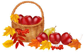 Basket with fruits and Autumn Leaves PNG Clipart Image