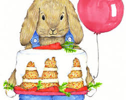 Happy Birthday Carrot Cake Card Congratulations Card Bunny Birthday Card