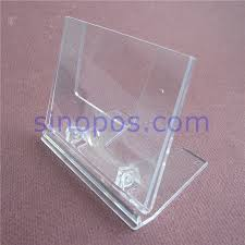 Clear Card Holder Stands Adjustable Counter L Display Table Top Racks Plastic Advertising Photo