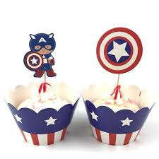 12sets Captain America Paper Cupcake Wrappers Cake Toppers Picks Kids Birthday Decoration Accessories Baby Shower Party Supplies