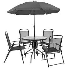 Flash Furniture Nantucket 6 Piece Black Patio Garden Set With Table,  Umbrella And 4 Folding Chairs Hampton Bay Statesville 5piece Padded Sling Patio Ding Set With 53 In Glass Top Garden Fniture Wikipedia 6 Seater Outdoor Fniture Table And Chairs Cushion Sets Mandaue Foam Great Round Remodel Torino 7 Piece A Guide To Chair Height Branch Outdoor Table Metal From Trib 4 Bistro Steel Heart Cream Devoko 9 Pieces Space Saving Rattan Cushioned Seating Back Sectional