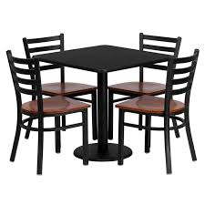 30 Square Black Laminate Table Set With 4 Ladder Back Metal Chairs Cherry Wood