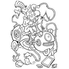 The Cat In Hat Coloring Page Pages Performing Balancing Act