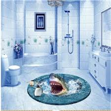 62 3D Shark In Sea With White Edges Pattern PVC Waterproof And Eco Friendly Floor Murals